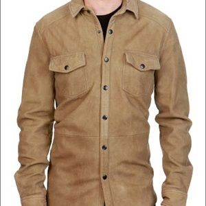 Lucky brand Sierra brown leather button up